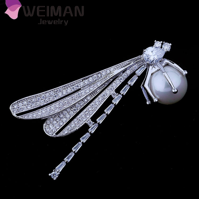 Fahion insect brooch design high quality platinum plated zircon dragonfly brooch with pearl