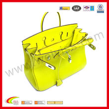 2016 Lime green leather handbags semi-definite form women leather bag