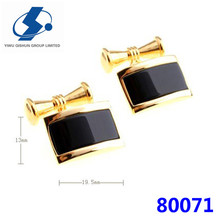 Hot sale solid black classical metal cufflinks for Father's day birthday