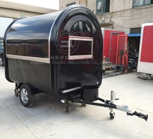Double windows black mobile food trailer mobile kitchen trailer