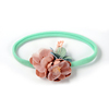 Mint Nylon Infant Headbands With Double Chiffon Fabric Flowers Toddler Headbands Accessory