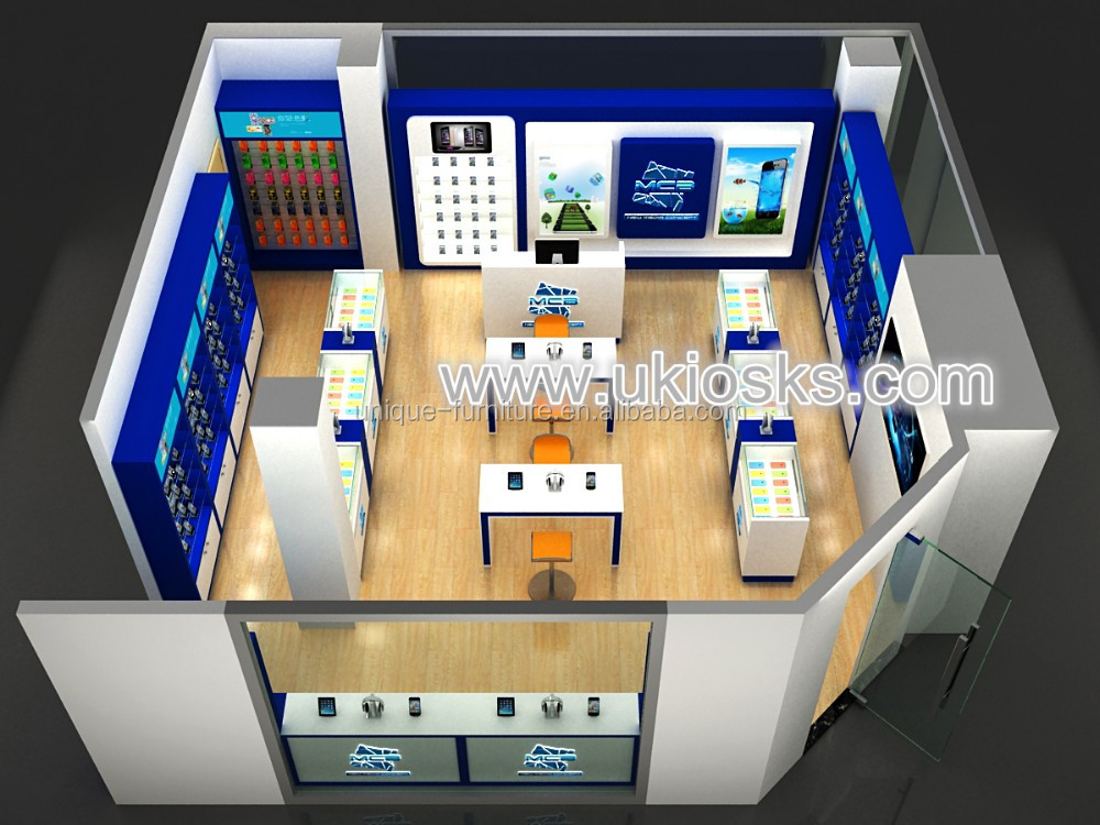 Wood mobile phone shop decoration, mobile phone shop fitting and mobile phone kiosk for sale