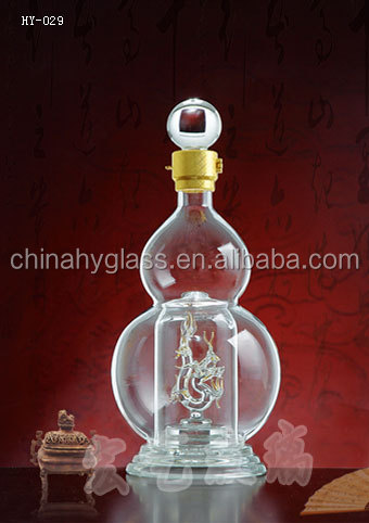 Hot selling 500ml 750ml decorative shaped glass wine bottles,good shaped glass bottle