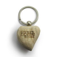metal keyring 3D heart shape wood keychain
