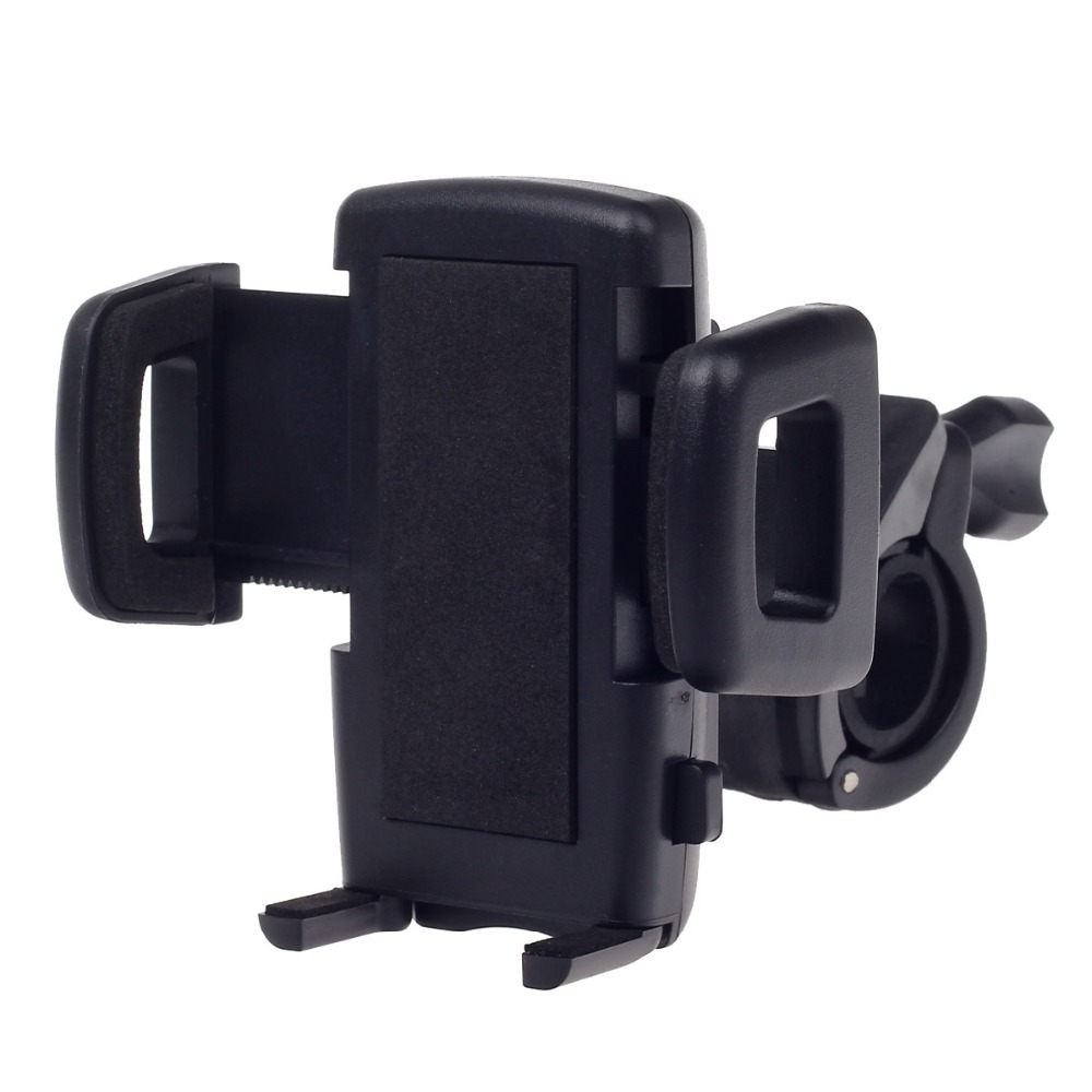 "Universal Motorcycle Bicycle 4-Port Phone Holder Bracket for 3.7"" /4.5'' Cellphone / MP5 / GPS-Black (3.6~8cm) Free Shipping P50"