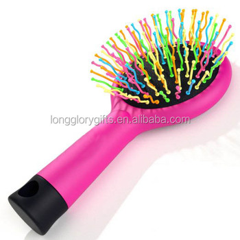 Detangling rainbow brush with Mirror- No Tangle & Pain- Anti Static Soft Bristle- Massaging Detangler- Rubberized Grip- wet&dry