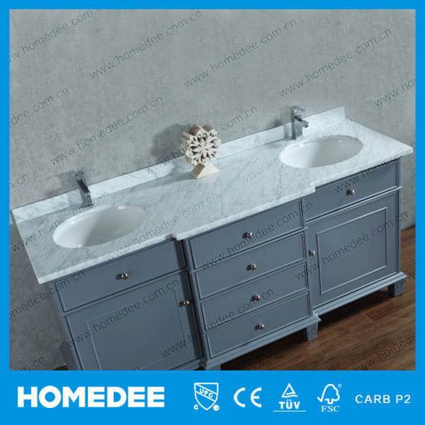 Floor Mounted Double Sink Bathroom Cabinet With Marble