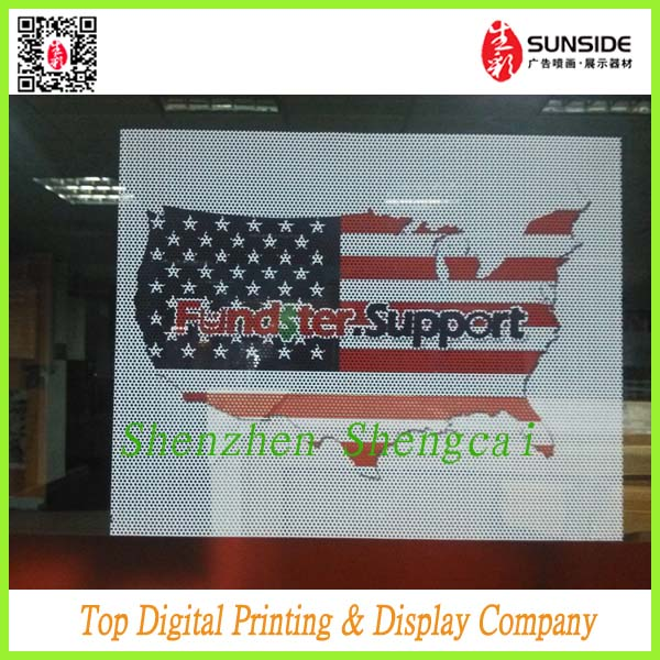 printing glass one way vision stickers,transparent one way vision with paper
