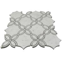 Carrara white marble polished flower mesh water jet mosaic floor tile