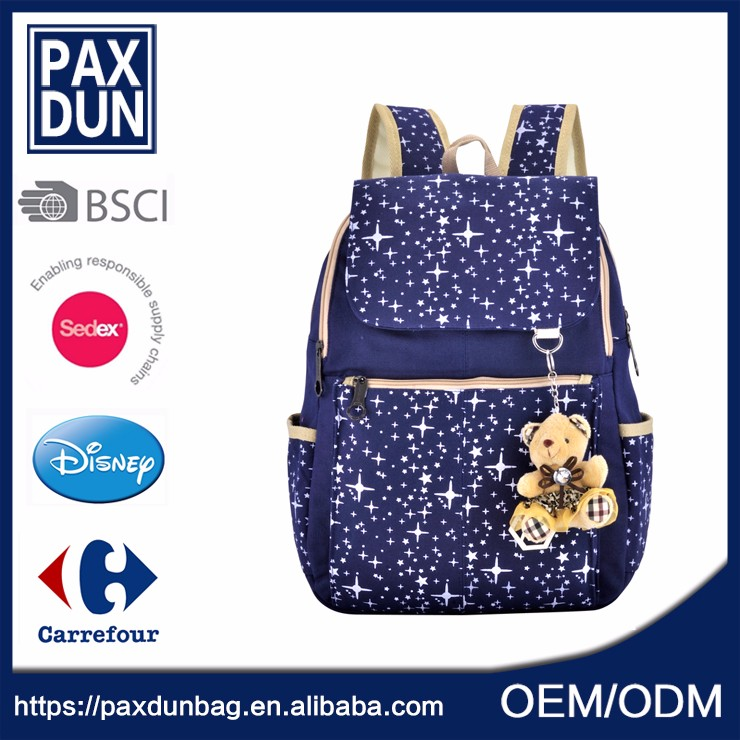 Custom Blue Canvas good quality Cute Fashion Lady Backpack