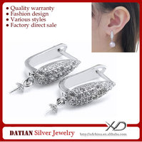 XD C616 925 Sterling Silver Jewelry French Hook Earrings with CZ Stones