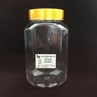 600ml Clear Plastic PET octagonal Round Wide-Mouth Jars, transparent dry food plastic storage bottle
