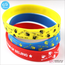 Custom printed rubber bracelets for events bulk cheap adjustable free silicone wristband