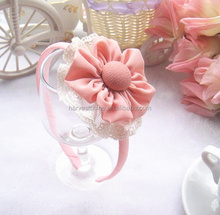Dusty pink flower headband,cute Korean make kids headband with lace