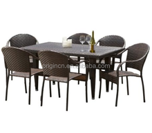plain rattan knitted room chair matching long rectangular table cheap balcony furniture