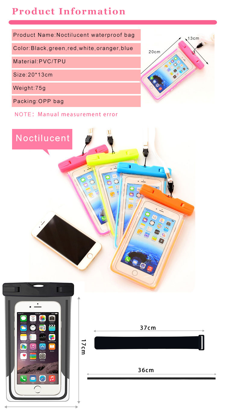 pvc mobile cell phone waterproof plastic polyester sports bag for phone (1)