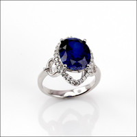 6.5CT Created Sapphire Ring 925 Sterling Silver Jewelry
