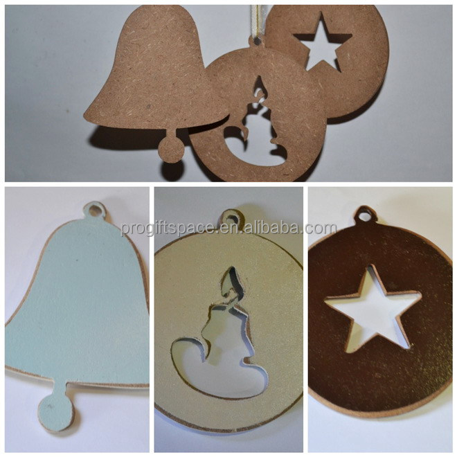 2017 new hotsale fashion handmade cheap wholesale hanging tree decor bell/disk/star shapes crafts wooden Christmas ornaments