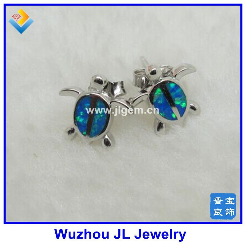 2017 New Products 925 Sterling Silver Turtle Shape Earring With Opal Inlay Blue Opal Turtle Earring