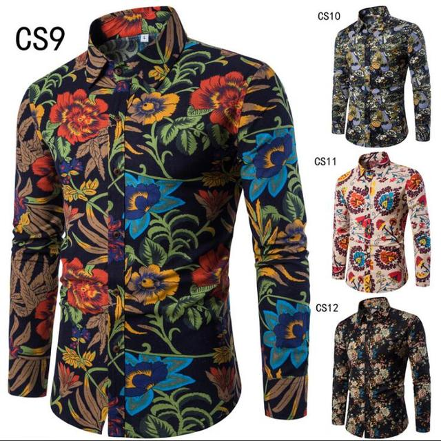 Walson Men's Fashion Floral Printed Long Sleeves Button Down Shirt Linen