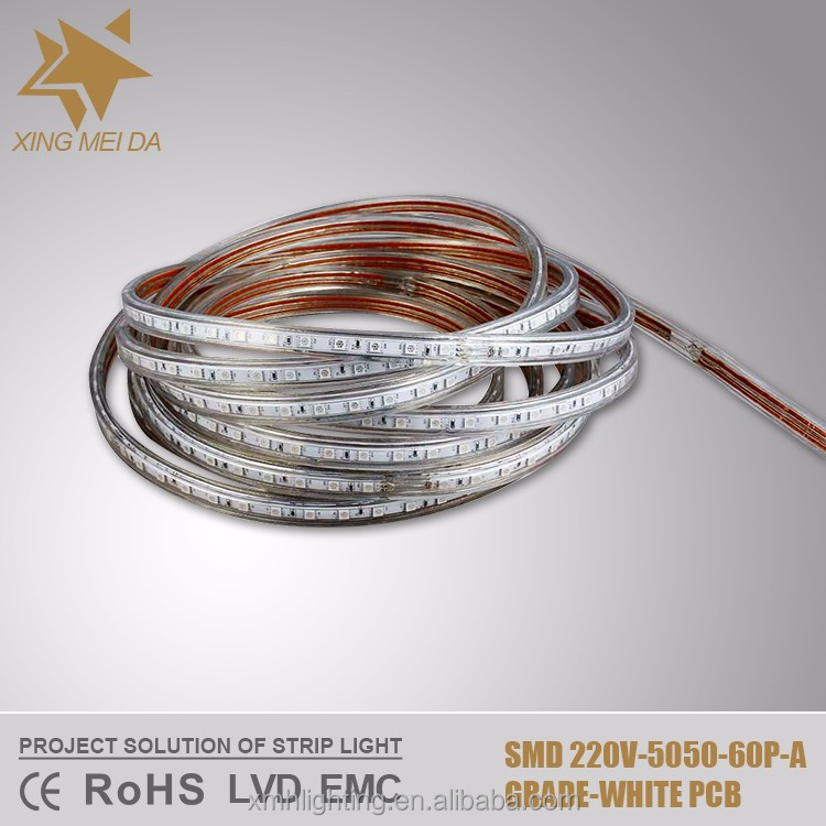 220V SMD 5050 60LEDs/M 15LM/LED <strong>RGB</strong> 10mm White PCB 2Year Warranty 230v led strip