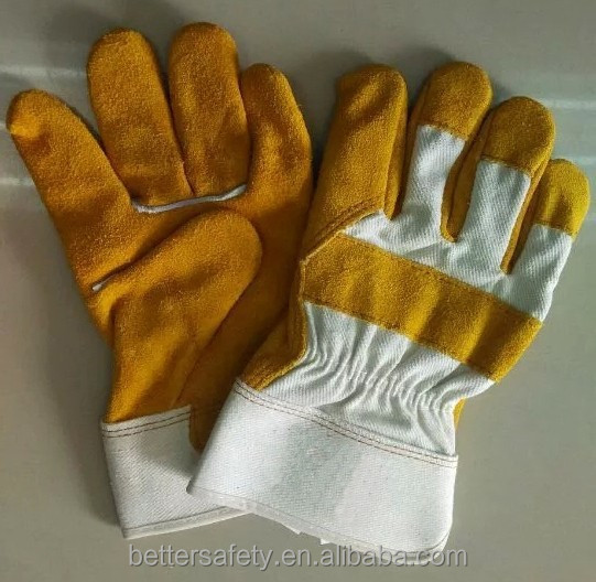 Rubberized Cuff White Cotton Back Full Palm Golden Cow Split Leather Work Glove Best Selling