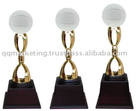 High Density Zinc Alloy with Crystal Basketball Trophy