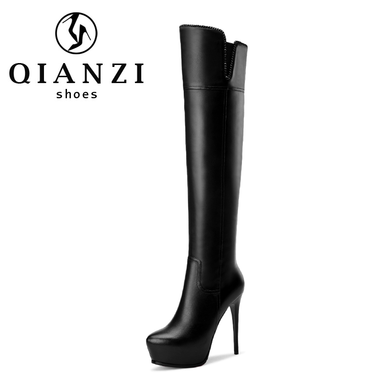 9329 Fashionable black platform leather women high heel boots thigh high