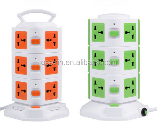 Tower Protected extension socket with Main Switch Indicator and Surge indicators, power converter, Electric Socket