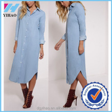 Yihao fashion wholesale light blue denim maxi shirt dress for women 2015