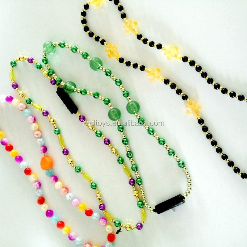 novelty led mardi gras beads necklace led flashing neckalce