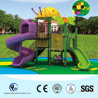 Cheap plastic slide kids playground equipment with insects decoration
