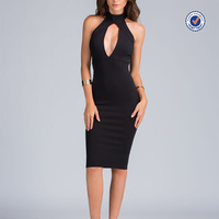 Women fashion stretchy mid-length open back shooting daggers halter black sexy midi evening dress