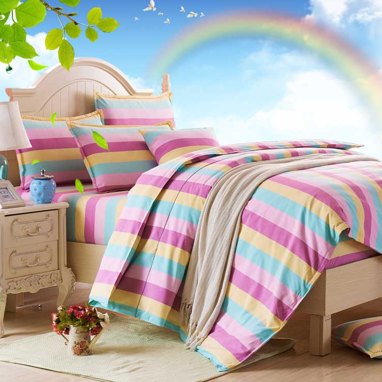 Queen size woven cotton fitted bed sheet bedding set used for kids,adults