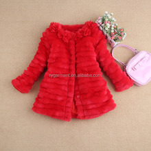high quality girl button closer fake fur coat red