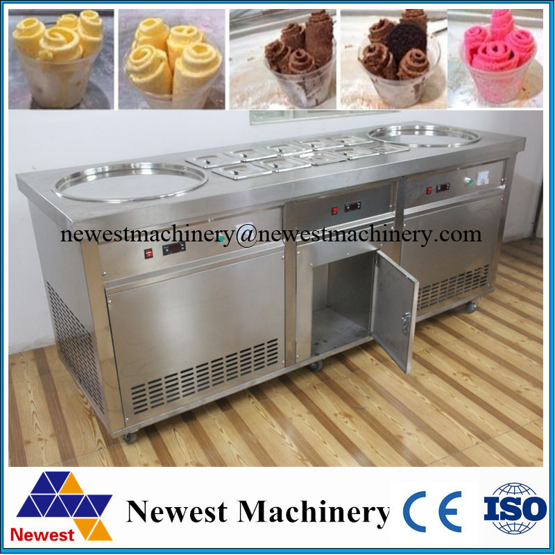 Commercial use Ice Cream Rolls Machine Thailand Fry Rolls Ice Cream Machine, Flat Pan Fried Ice Cream Machine Rolls
