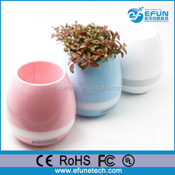 LED rgb color intelligent touch plant smart piano music flowerpot vase bluetooth speaker