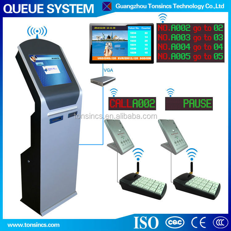 "17"" Automatic Bank Dual Thermal Printer Wireless Queue Management System"