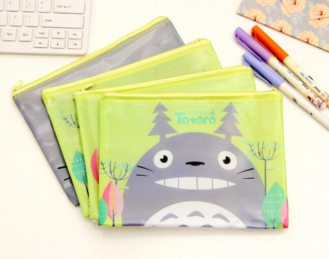 wholesale cheap stationery file pocket, clear file folder,cartoon animal totoro printed transparent file bag with zipper