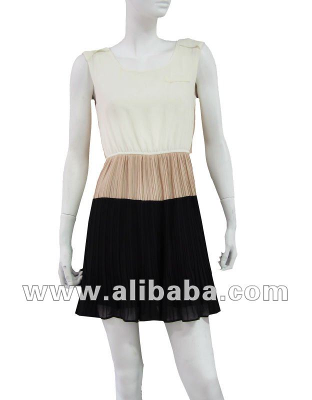 CHIFFON 3 COLOURS PLEATED DRESS