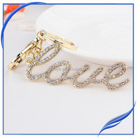 wholesale rhinestone metal alphabet key chain