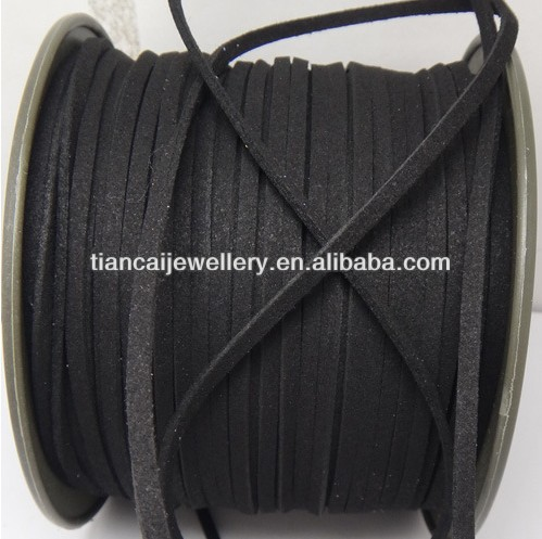 Free Shipping 100 Yard /Lot Jewelry DIY 3*1.5mm/5*1.5mm black Suede Cord Lace Leather Cord Flat
