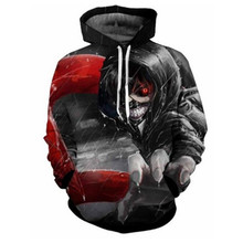 Wholesale Online Rain Skull 3D Digital Printing Hoodie Casual Tops Hooded Tracksuit