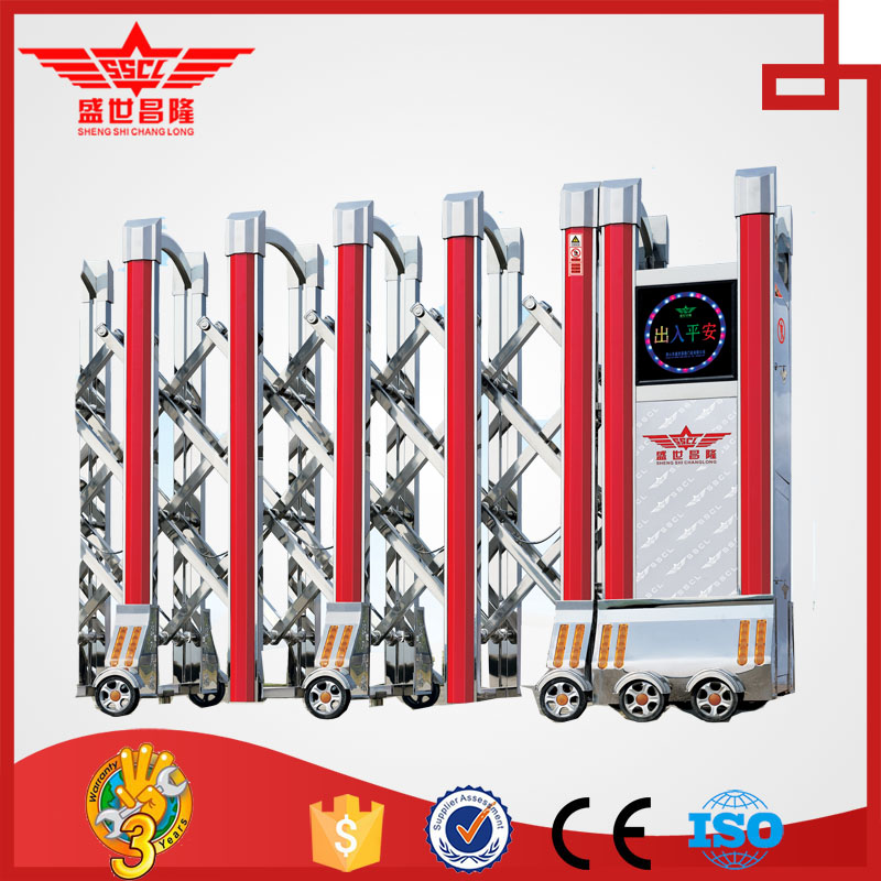 electric automatic stainless steel sliding folding driveway gate J1414
