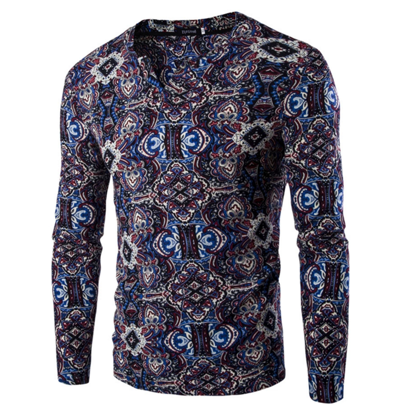 2016 new style casual floral long sleeve fashion ethnic print dashiki polo shirts for men