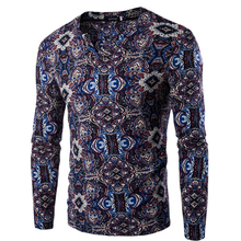 2017 new style casual floral long sleeve fashion ethnic print dashiki shirts for men