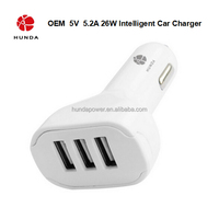 HUNDA Brand Universal 3 Port USB Car Charger Adapter with Auto Detect Technology for Ipad Ipod Tablets