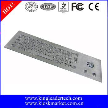 Rugged kiosk metal industrial panel mount keyboard with optical trackball