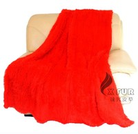 CX-D-10G High Fashion Colorful Hand Knitted Rabbit Fur Throw