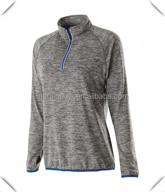 Elite dry fit performance polyester/spandex sports raglan long sleeve training shirts top 1/4 reflective zip pullover